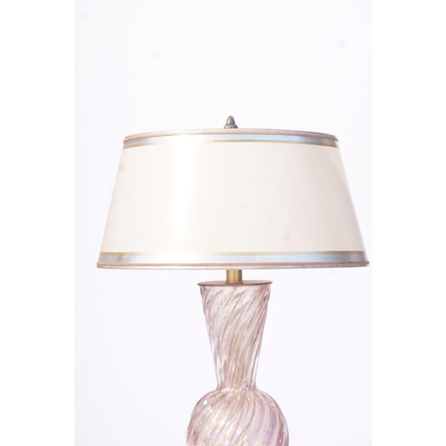 Italian Vintage Italian Murano Lavender Lamps With Lucite Bases For Sale - Image 3 of 5