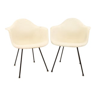 Eames for Herman Miller Mid Century Molded Plastic X-Base Shell Chairs - a Pair For Sale
