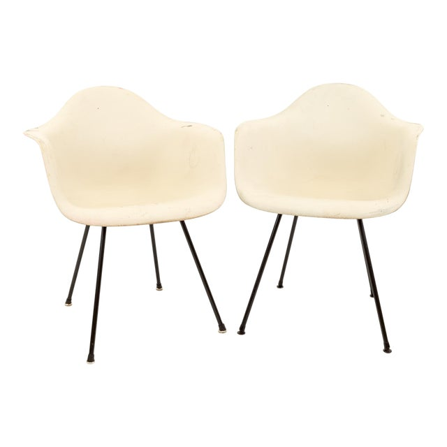 Mid-Century Modern Eames for Herman Miller Molded Plastic X-Base Shell Chairs - a Pair For Sale