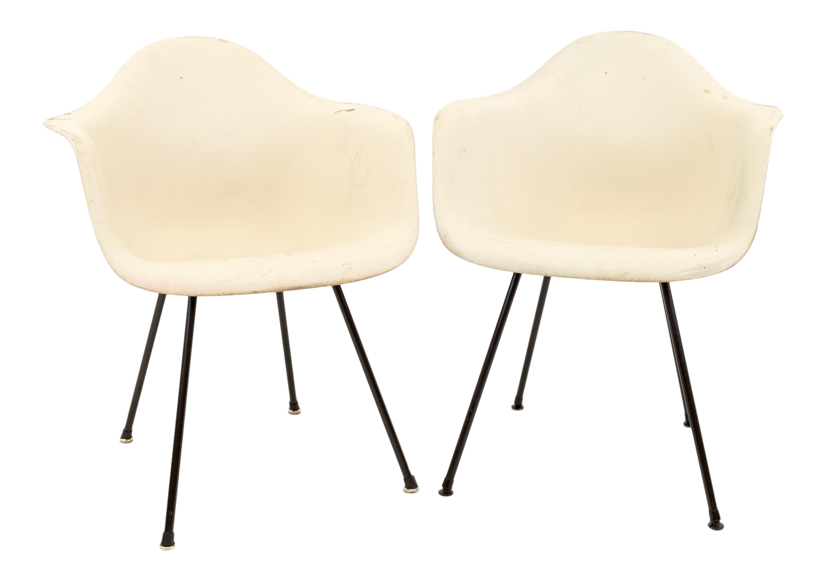 Mid Century Modern Eames For Herman Miller Molded Plastic X Base Shell  Chairs   A Pair