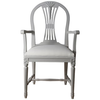 Swedish Gustavian Armchair, Light Grey For Sale
