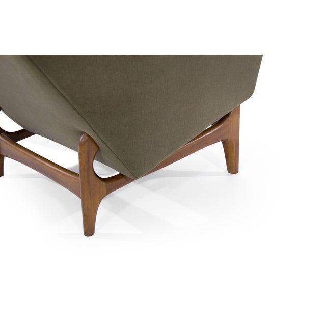 Scandinavian Modern Olive Velvet on Sculptural Teak Base Lounge Chairs - a Pair For Sale - Image 9 of 11