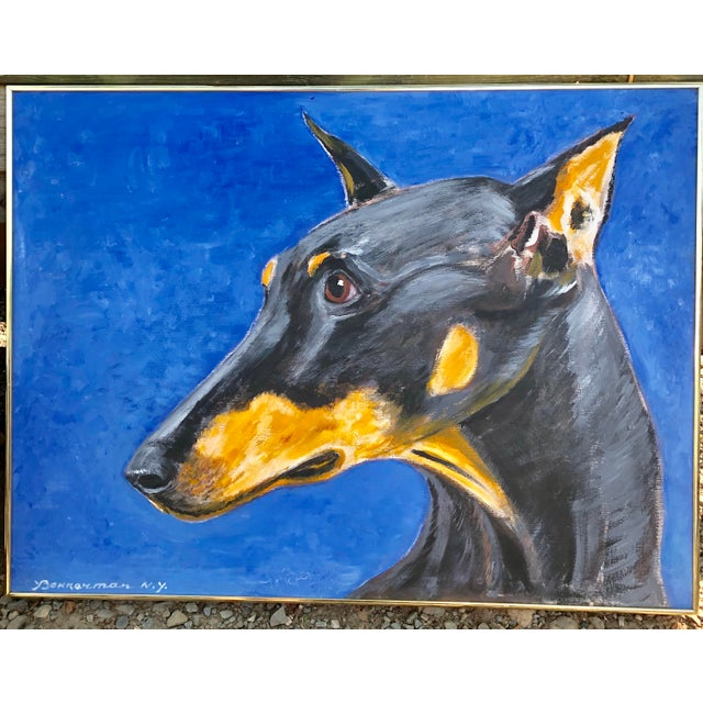 Canvas Large Contemporary Doberman Pincher Original Dog Portrait Painting Signed For Sale - Image 7 of 7