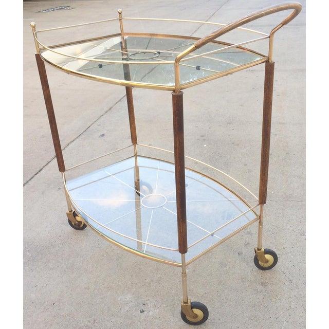 Mid-Century Brass & Glass Bar Cart - Image 3 of 11