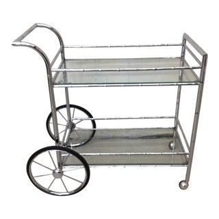 Italian Style Faux Bamboo Chrome Bar Cart For Sale