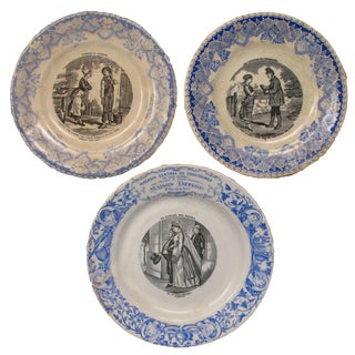 Antique Blue & White French Transferware, 19th C., S/3 For Sale
