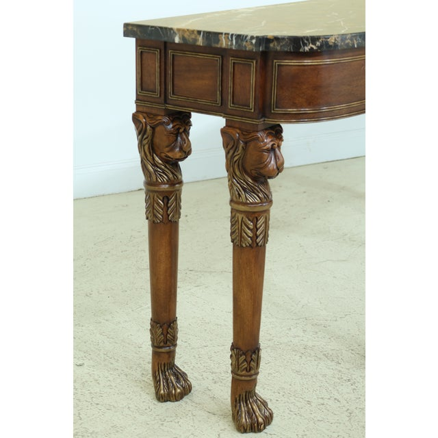 Wood Henkel Harris Lion Head Carved Mahogany Marble Top Console Table For Sale - Image 7 of 11