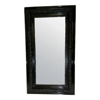 Antique Early 20th Century Black Lacquered Mirror For Sale