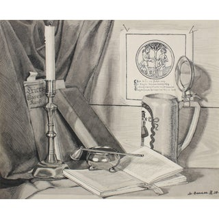 Mary Pomeroy Monochromatic German Still Life in Ink, 1938 For Sale