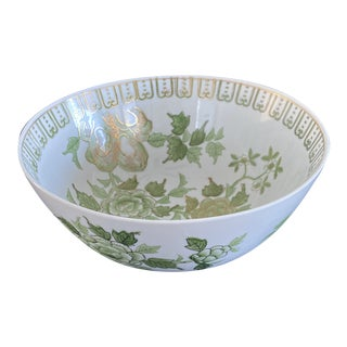 Vintage 19th Century Chinoiserie Green and Gold Andrea Bowl by Sadek For Sale