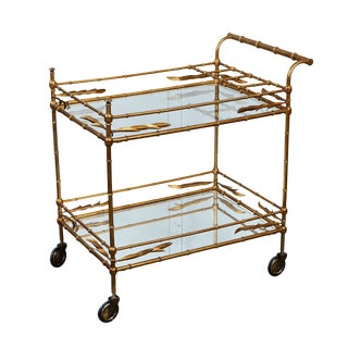 Mid-Century Faux Bamboo Bar Cart For Sale