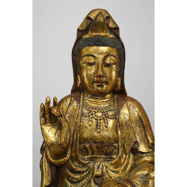 Asian Asian Chinese Gilt Carved Figure of Seated Guan Yin Buddha on a Lotus Base For Sale - Image 3 of 6
