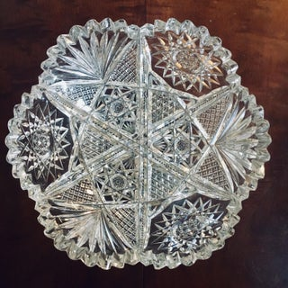 "8"" American Brilliant Period Cut Glass Bowl With Star Pattern Preview"