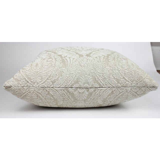 Creamy White Damask Throw Pillow For Sale - Image 4 of 6