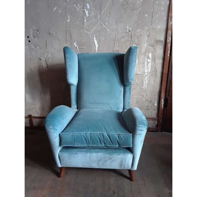 Mid-Century Modern 1960s Teal Velvet Wingback Chairs - a Pair For Sale - Image 3 of 7