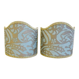 Italian Mariano Fortuny Fabric Clip-On Sconce Lampshades - Set of Two For Sale