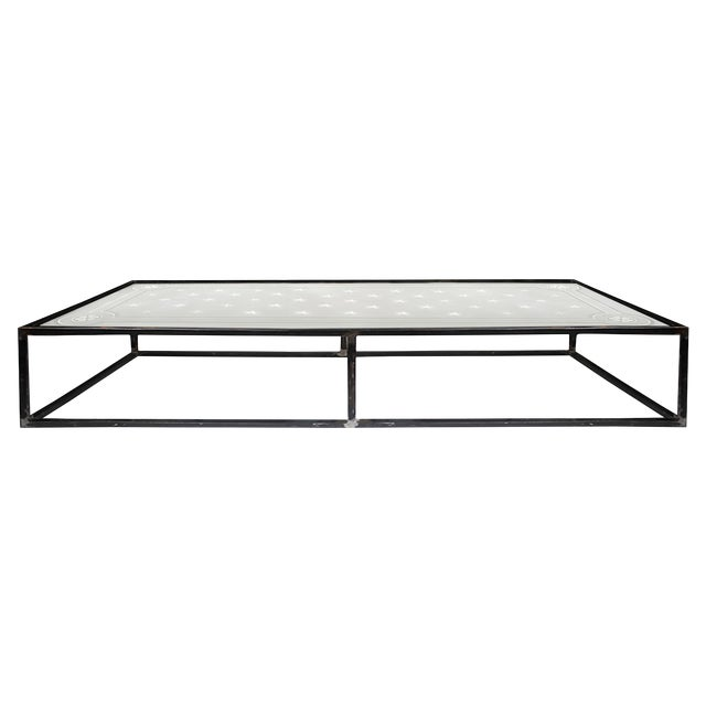 1900 Vintage French Etched Glass and Steel Coffee Table For Sale