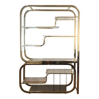1970s Milo Baughman for Design Institute of America Brass Etagere For Sale