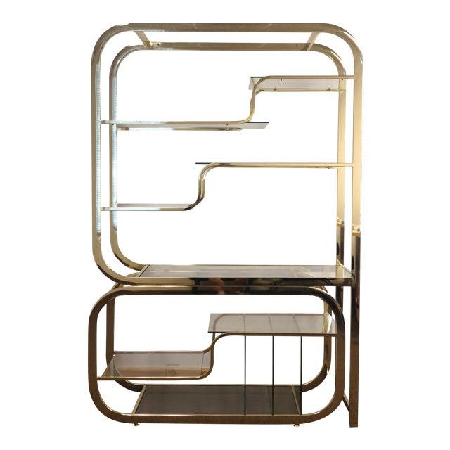 1970s Milo Baughman for Design Institute of America Brass Etagere For Sale