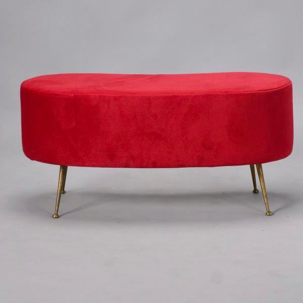 Italian Gio Ponti Style Kidney Shape Bench with Brass Feet - Image 3 of 9
