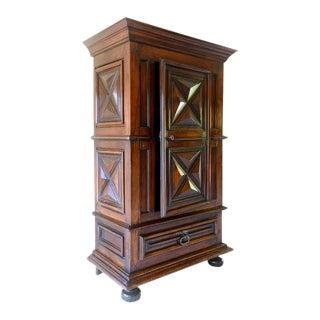 Louis XIII Style 17th Century Diamond Point Walnut Single Door Armoire For Sale