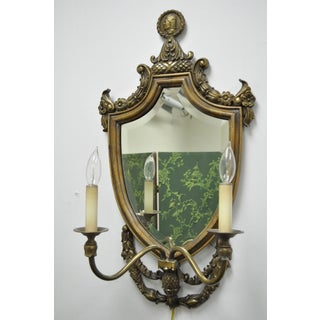 Pair of Spanish Renaissance Styl Brass Wood Mirror Shield Cameo Electric Sconces Preview