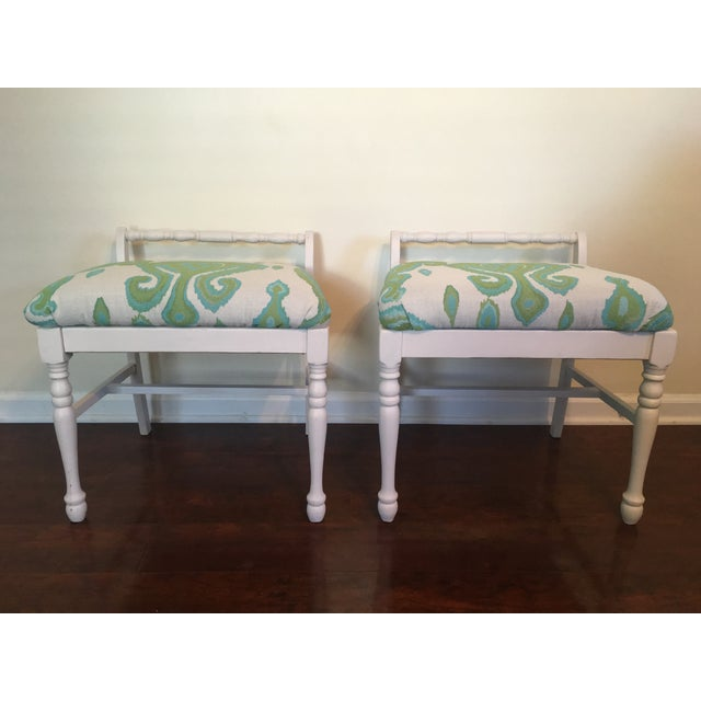 Ikat Upholstered Bench Ottomans - A Pair - Image 3 of 4