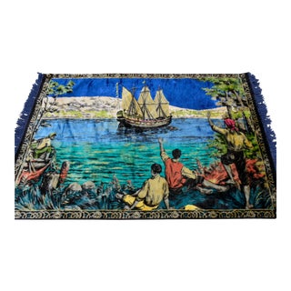 The Discovery of America Themed Wall Rug. Vintage Tapestry. Old Ship & Sailors - 46ʺ X 65ʺ For Sale