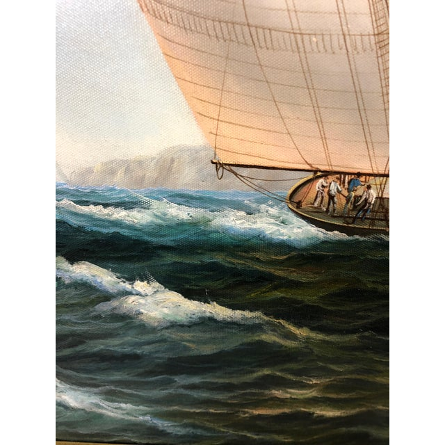 Realist Painting of Sailing Vessels by Cooper For Sale - Image 4 of 13