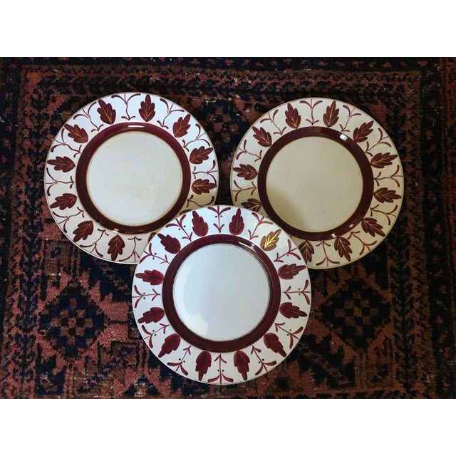 Boho Chic 1930s/1940s Vintage English Handpainted Plates - Set of 3 For Sale - Image 3 of 9