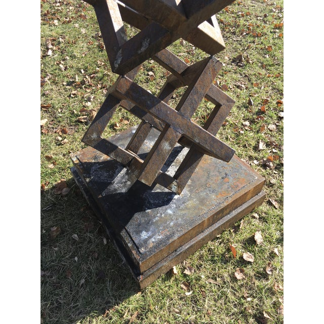 2010s Large Contemporary Steel Cube Sculptures / Statues - a Pair For Sale - Image 5 of 6