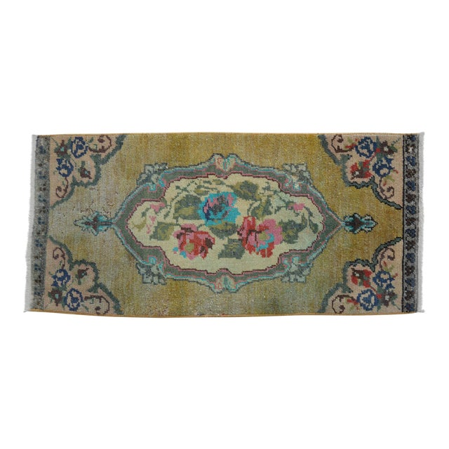 """Low Pile Small Oushak Rug Yastik - 16"""" X 34"""" For Sale"""