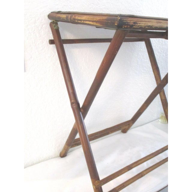 Brown 1970s Bamboo Folding Table For Sale - Image 8 of 10