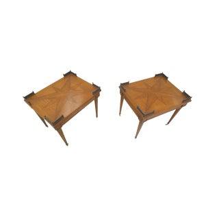 1940s Lacquered Oak Parquetry Side Tables - A Pair