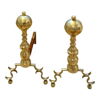 Antique Brass Cannonball Footed Andirons - a Pair For Sale