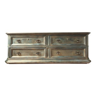 Blue Metallic Lowboy Chest of Drawers