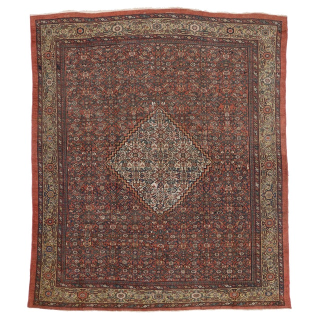 "Antique Persian Mahal Rug - 8'6"" X 10' For Sale - Image 5 of 5"