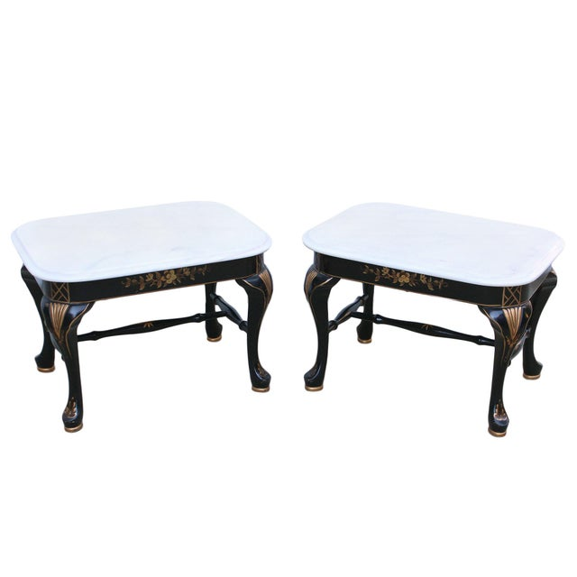 Drexel Chinoiserie Black & Gold Side Table Pair With White Marble Tops, a Pair For Sale - Image 10 of 10