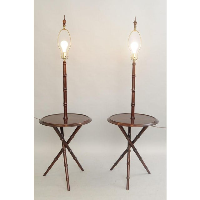 Chippendale Pair of Chinese Chippendale Faux Bamboo Floor Lamp End Tables Tripod Wood Vintage For Sale - Image 3 of 11