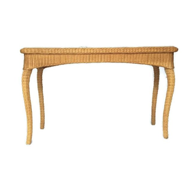 Miraculous Vintage Wicker Console Table Bohemian Rattan Sofa Table Ibusinesslaw Wood Chair Design Ideas Ibusinesslaworg