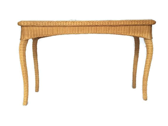 Vintage Wicker Console Table Bohemian Rattan Sofa Table   Image 4 Of 6