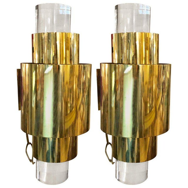 Pair of Mid-Century Modern Karl Springer Brass and Lucite Wall Sconces For Sale - Image 12 of 12