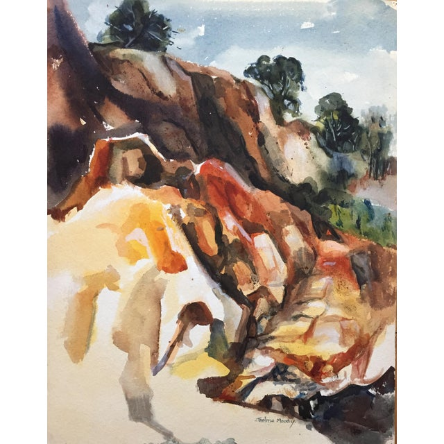 Thelma Moody 1960's Double-Sided Gouache Landscape - Image 6 of 7