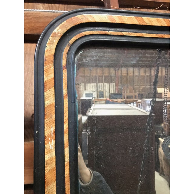 Wood French Faux Painted Mirror With Original Glass For Sale - Image 7 of 10