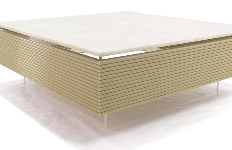 Ribbed Acrylic U0026 Lucite Base Marble Top Square Coffee Table   Image 4 ...