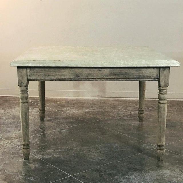French 19th Century French Rustic Limestone Top Game Table - Center Table For Sale - Image 3 of 12
