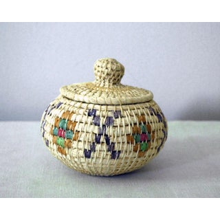Vintage Tribal Coiled Basket With Lid Preview