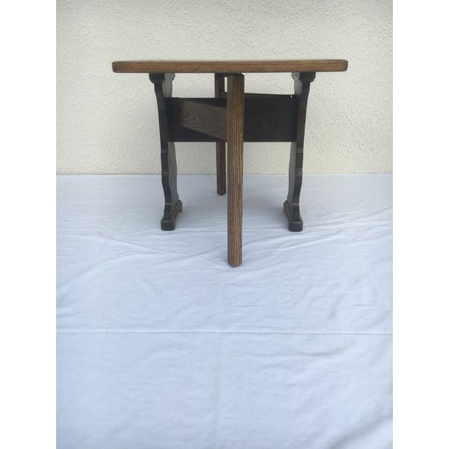 Wood Small Petite Mini Vintage Mid-Century Wood Drop Leaf Side Table For Sale - Image 7 of 13
