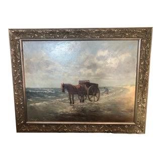 Henriette Hubregtse-Lanzing Antique Dutch Oil Painting, Horse & Fisherman For Sale