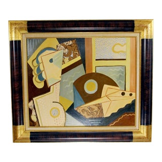 Cubist Style Framed Painting Signed H. Riedel For Sale
